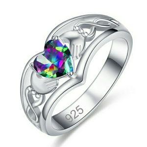💜 Heart Mystic Topaz Silver 🍀Claddagh Ring sz 8
